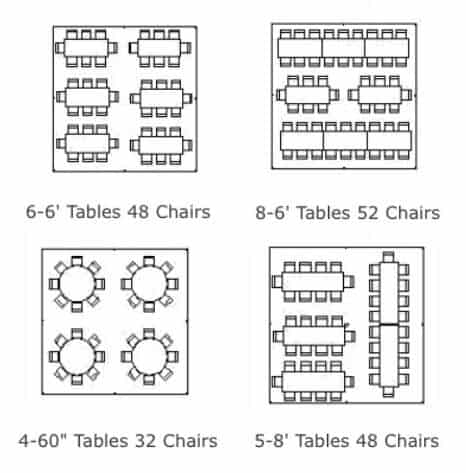 image of table rentals 20x20 floor seating plan