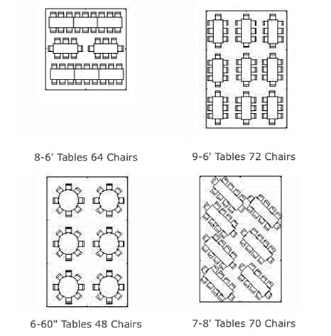 Image of table rentals 20 x 30 Table Seating Layout