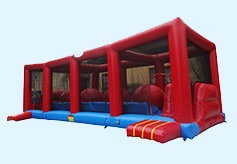photo of the Wipeout inflatable obstacle course rental